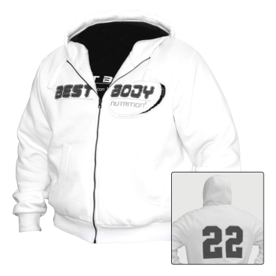 Zip Hoody 22 white (Best Body Nutrition)