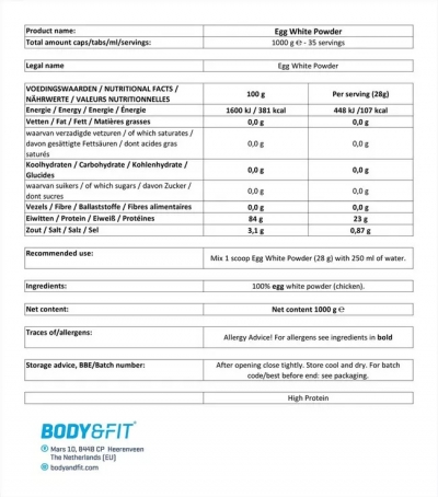 Egg White Powder - 1KG Beutel (Body & Fit)