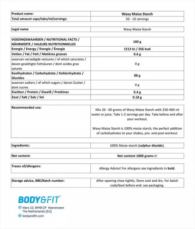 Waxy Maize Starch - 1KG Beutel (Body & Fit)