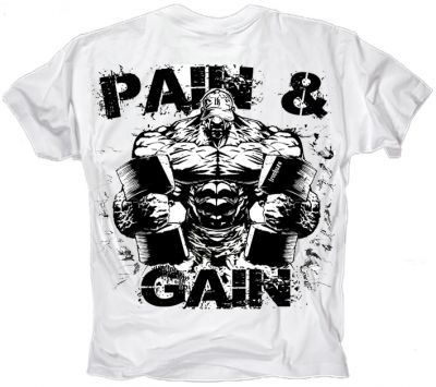 Ironkuza Shirt 'Pain & Gain' white - Kopie