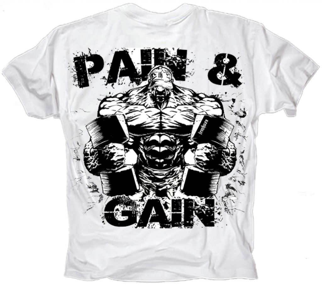 Ironkuza T-Shirt 'Pain & Gain' weiss
